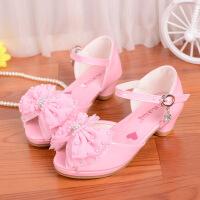 2017夏季儿童凉鞋女新款韩版女童高跟鞋小女孩公主凉鞋大码蝴蝶结