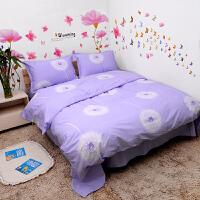 紫色浪漫蒲公英床单纯棉床笠枕套被单被套单件三四件套 浪漫时光