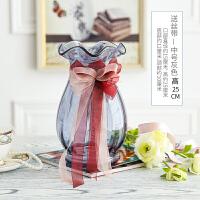 欧式简约彩色玻璃花瓶水培玻璃透明鲜花富贵竹插花客厅餐厅摆件