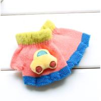 秋冬季婴幼儿半指手套卡通可爱0-1岁小宝宝毛线保暖手套儿童露指xx 西瓜红 汽车 5个月--18个月