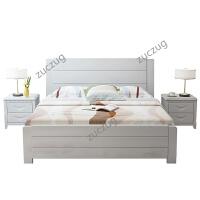 zuczug现代简约实木床1.8米1.5单双人床主卧经济型高箱储物白色中式婚床