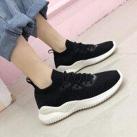 休闲鞋 女士透气飞织网系带袜子鞋2020秋季新款韩版时尚女式柔软舒适运动老爹鞋
