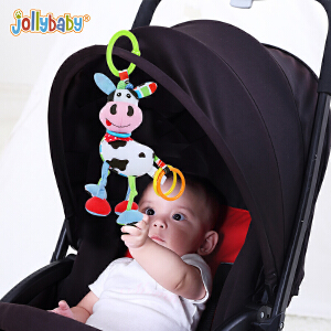 jollybaby新生婴儿童宝宝动物拉震公仔玩具益智早教毛绒拉绳玩偶