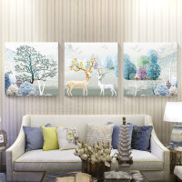 沙发背景墙装饰画壁画客厅挂画现代简约餐厅卧室墙上大气三联水晶