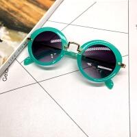 儿童太阳镜小孩墨镜男女童眼镜圆框蛤蟆镜宝宝遮阳镜 A04-绿色+眼镜盒