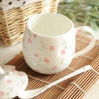 后海杯子女马克杯带盖勺陶瓷杯简约喝水杯儿童骨瓷可爱牛奶咖啡杯