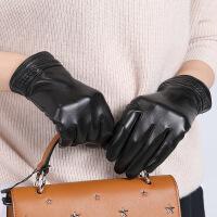 №【2019新款】冬天带的新款真皮手套男女情侣款时尚加绒开车可触屏羊皮手套薄款