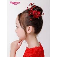 花童饰品儿童演出发饰女童公主发饰女孩头饰发卡红色发夹