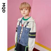 【2件3折后价:210】MQD男童连帽外套21秋装新款儿童牛仔拼接撞色风衣开衫运动上衣潮