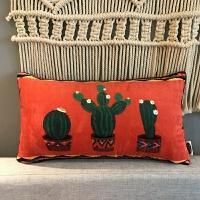 绒布仙人掌红色抱枕靠垫地中海客厅抱枕套文艺沙发靠垫靠背含芯