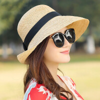 手工拉菲草帽子防紫外线出游遮阳帽女士夏天韩版大檐沙滩帽可折叠