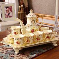 欧式茶具咖啡杯套装结婚家用奢华陶瓷英式下午茶杯茶壶带托盘 8件