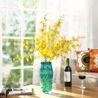 橡树庄园 蓝色多瑙河手工圆点玻璃花瓶 北欧家居木棉花艺套装摆件