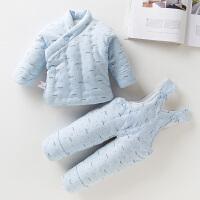 新生儿婴儿棉衣套装冬季花手工棉袄棉裤保暖初生宝宝加厚