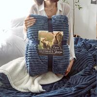 北欧双层珊瑚绒盖毯子加厚羊羔绒午睡毯子冬季保暖魔法绒单人毛毯