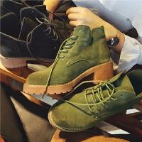 秋季新款真皮短靴英���L�R丁靴�W生系��女靴子粗跟及裸靴潮