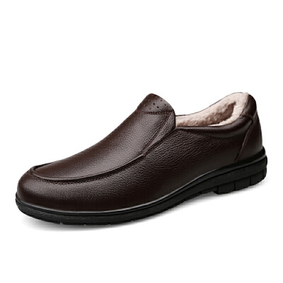 男鞋冬季加绒保暖棉鞋真皮男士休闲皮鞋男40-50岁中老年爸爸鞋子