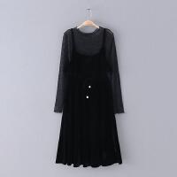 305 春季新款两件套亮丝修身圆领长袖女式百搭连衣裙