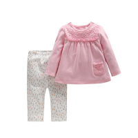 春秋季女童粉色套装婴儿蕾丝肩扣上衣T恤碎花长裤打底裤套装