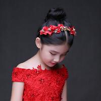 儿童礼服配饰女宝宝公主头饰女孩酒红色皇冠精美饰品发饰花瓣头箍5022 红色