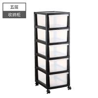 简易衣柜抽屉式收纳柜收纳箱收纳盒家用多层加厚塑料带轮储物架子 1个