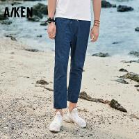 森马旗下Aiken爱肯2018新款夏季街头青少年小脚潮流男生运动修身牛仔裤