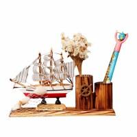 布帆船笔筒 木质地中海船笔筒礼品工艺摆件 学生办公文具笔插礼物