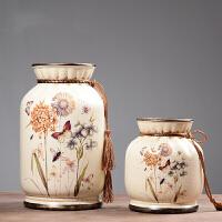 美式家里酒柜装饰品摆件欧式客厅玄关复古陶瓷花瓶盘子奢华二件套
