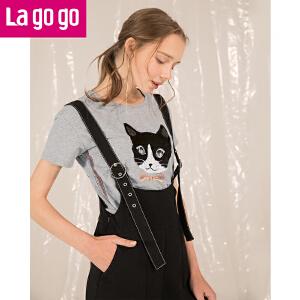 Lagogo/拉谷谷2018夏季新款前身珠片绣短袖圆领T恤HATT313Y07