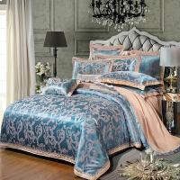 家纺贡缎提花刺绣四件套1.8/2.0m床品纯棉欧式床单双人被套 1.5m床被套200*230 床单250*250