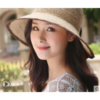 新款韩版可折叠拉菲草帽女简约褶皱蝴蝶结遮阳沙滩帽女