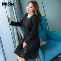 MsShe加大码女装2017新款秋装胖妹妹蕾丝拼接弹力连衣裙M1630568