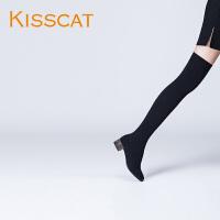 接吻猫2017秋冬新款时尚弹力针织低跟高筒过膝长靴袜靴DA87694-50
