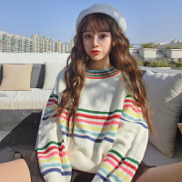 春季女装韩版学院风宽松彩虹条纹长袖毛衣百搭学生套头针织衫上衣