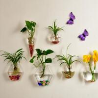 2018新品绿萝壁挂鱼缸水培花瓶创意家居饰品客厅墙上花盆墙壁书房装饰 六个花瓶组合+彩石+挂钩