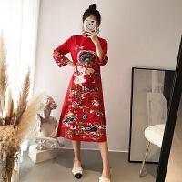 敬酒服新娘结婚礼服女2018新款中式旗袍秋季回门服订婚红色连衣裙 红色