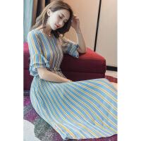 2018春装新款女装韩版时尚显瘦V领条纹裙子夏季中长款雪纺连衣裙 蓝色