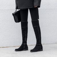 卡其色靴子女冬季圆头过膝长靴子磨砂平跟显瘦长筒靴高筒靴卡其色粗跟女靴 TBP