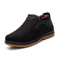 冬款中老年男棉鞋加厚保暖牛筋底老北京布鞋男休闲父亲棉靴子真皮