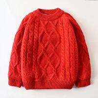 男童毛衣套头秋冬款加绒加厚红色儿童女童1-3岁宝宝婴儿 红色 低领老麻花