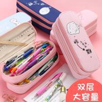 抖音网红文具盒学生笔盒初中生铅笔盒文具盒男孩小学生双层笔盒拉链大容量