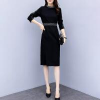 春季长袖连衣裙女2019新款气质韩版修身显瘦中长款包臀开叉一步裙 黑色