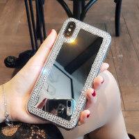 iphoneXS max手机壳水钻苹果8plus带镜子iphone6S女款7硅胶XR镜面
