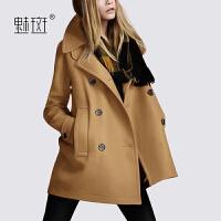 【新年狂欢到手价:668.5】魅斑毛呢大衣女宽松双排扣中长款高端2019新款气质秋冬呢子外套