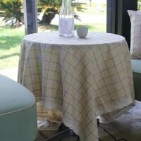 棉麻桌布布艺长方形格子茶几圆桌方酒店咖啡厅餐桌盖布巾定制