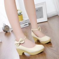 韩版女童皮鞋小女孩公主鞋儿童高跟鞋童鞋蝴蝶结少女中大童学生鞋SN1753