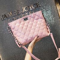 2018夏季潮新款时尚欧美小香风女包ins斜跨肩背购物菱格链条大包