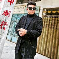 秋季大码男装中长款披风外套针织上衣加肥加大潮胖子肥佬开衫风衣 黑色