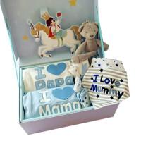 婴儿礼盒新生儿礼礼物男女宝宝衣服满月百天*全棉长袖连体衣 蓝爸妈礼盒 层棉薄款