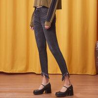 【1件3折到手价:56.7】美特斯邦威秋装新款欧美风修身潮流长裤脚口流苏边牛仔裤女